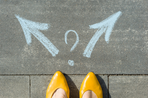 Who Is the Ideal Candidate to Seek Outpatient Addiction Treatment? - yellow shoes with blue chalk arrows