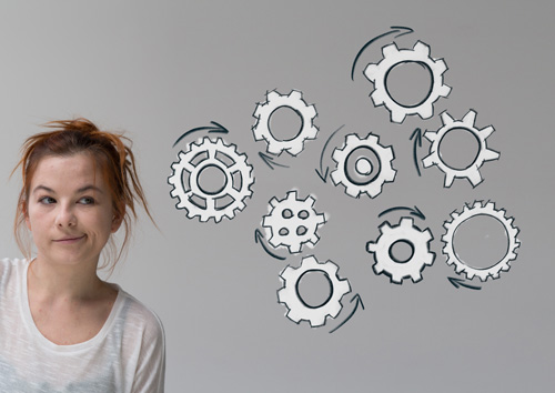 How-Rehab-Works-Part-1 - red haired woman with drawn gears next to her
