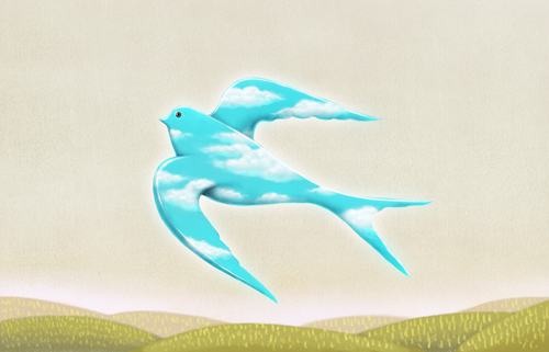 illustration bird flying away - freedom concept - toxic relationships