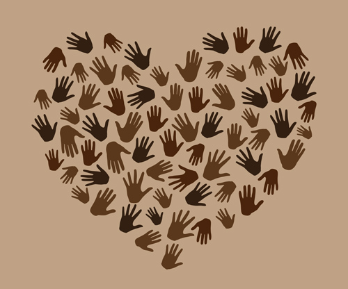 black and brown hand prints forming shape of heart on beige background - treatment needs BIPOC