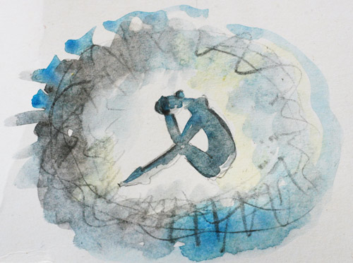 watercolor painting in grays and blues depicting person trapped in thought bubble - trauma and addiction